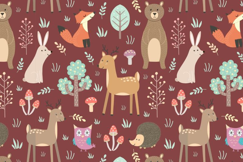 forest-seamless-pattern-and-elements