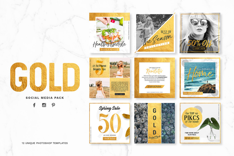 Free GOLD Social Media Pack (PSD Mockups)
