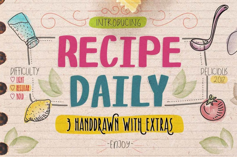 recipe-daily-typeface-with-extras