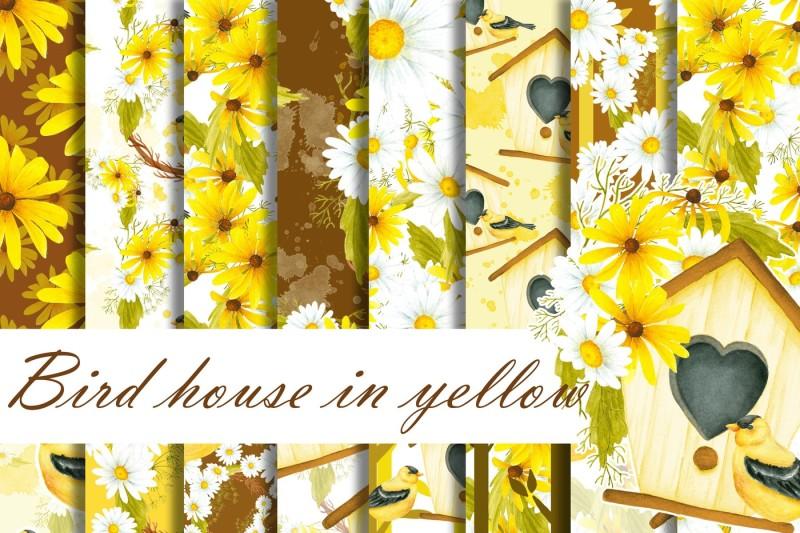 bird-house-in-yellow-digital-paper