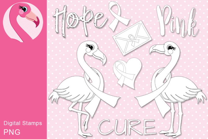 breast-cancer-flamingo-digital-stamp-set
