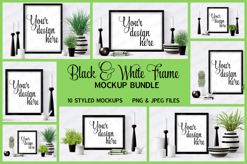 Free Black Frame Mock Up Bundle (PSD Mockups)