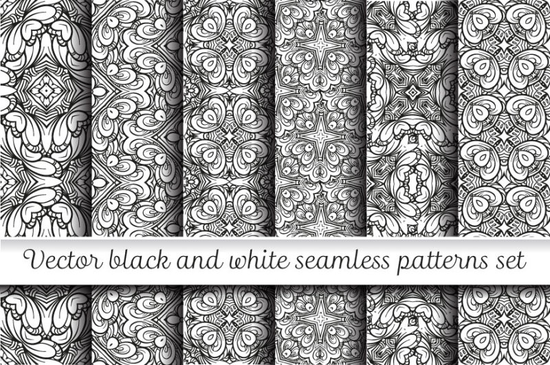 black-and-white-seamless-patterns-set