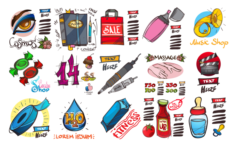 100-icons-in-hand-drawing-style