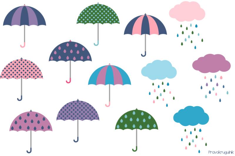 Cute umbrella clipart, Rainy weather clip art, rainy ...