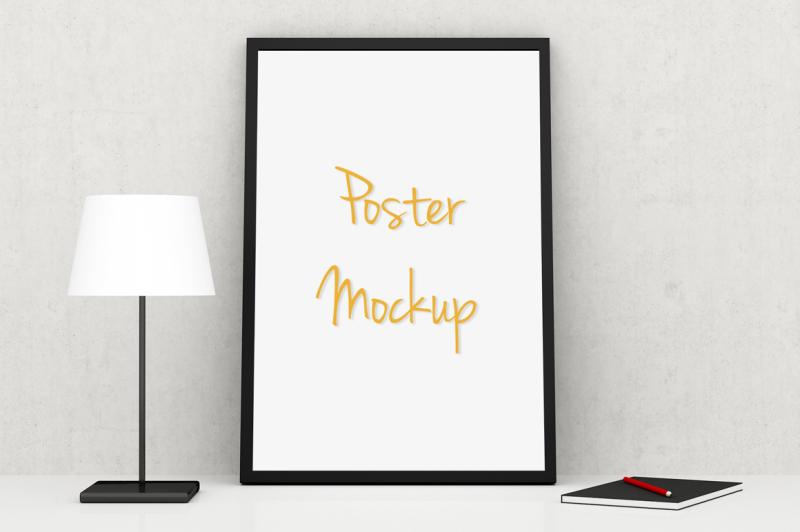 Free Poster (on shelf) Mockup (PSD Mockups)