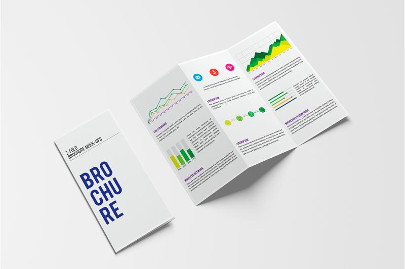 Free A4 Z-Fold Brochure Mock-Up (PSD Mockups)