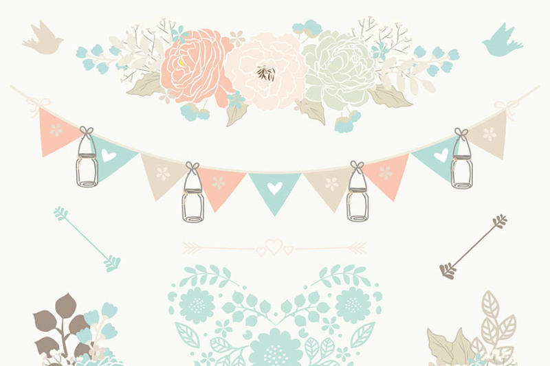 Vector Mint green coral red wedding clipart By ...