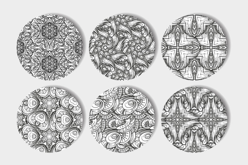 vector-black-and-white-seamless-patterns-set