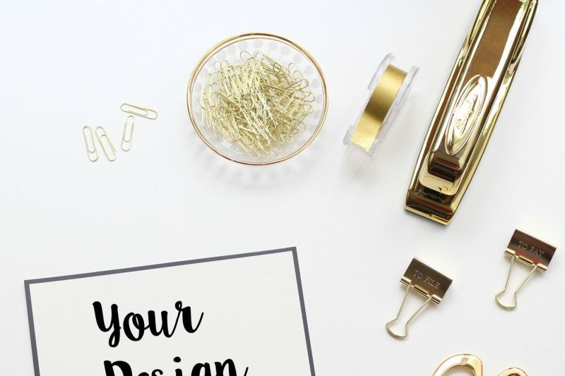 Free Square Gold Office Stock Photo (PSD Mockups)