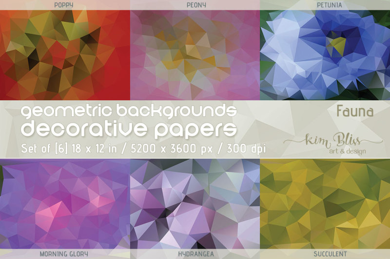 polygon-geometric-backgrounds-decorative-papers-fauna
