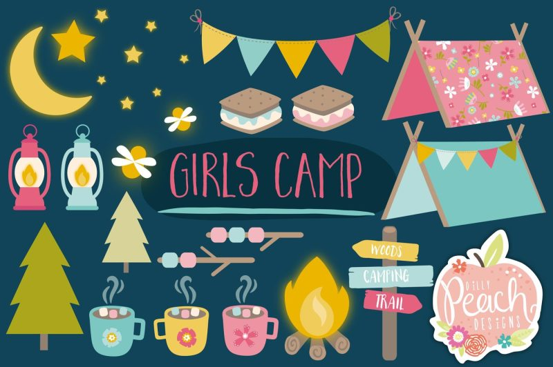 girls-camping-clipart