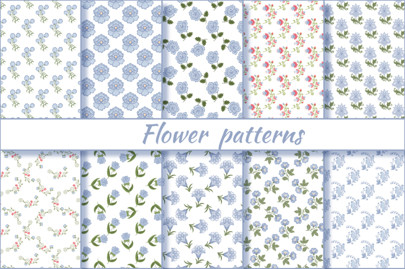 flower-patterns-vector-set