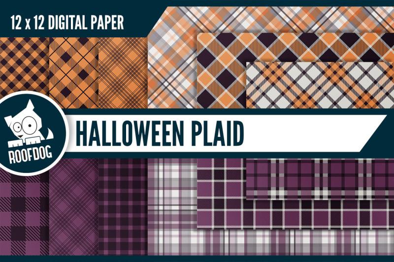 halloween-plaid-digital-paper-purple-and-orange