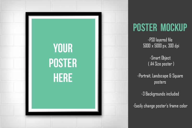 Free Minimal Poster Mockup v1 (PSD Mockups)