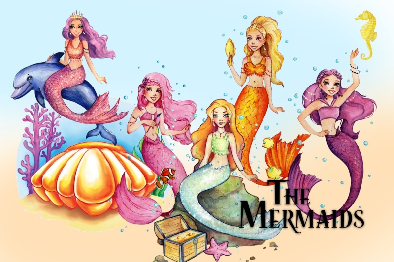 the-mermaids-watercolor-clipart-images