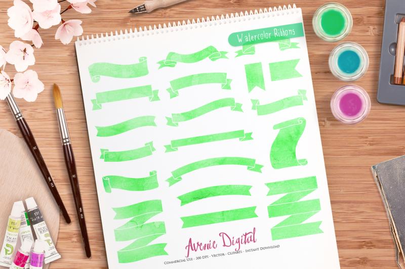 green-watercolor-ribbon-banner-clipart