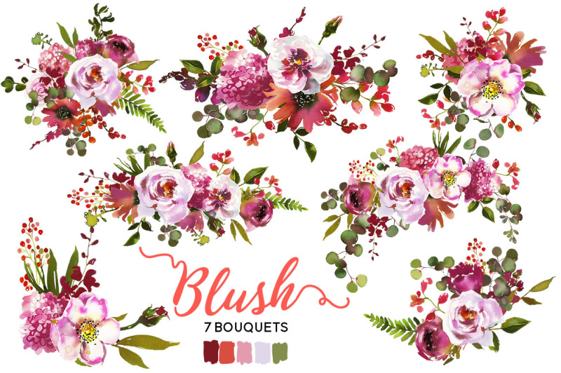 blush-coral-pink-magenta-watercolor-flowers-clipart
