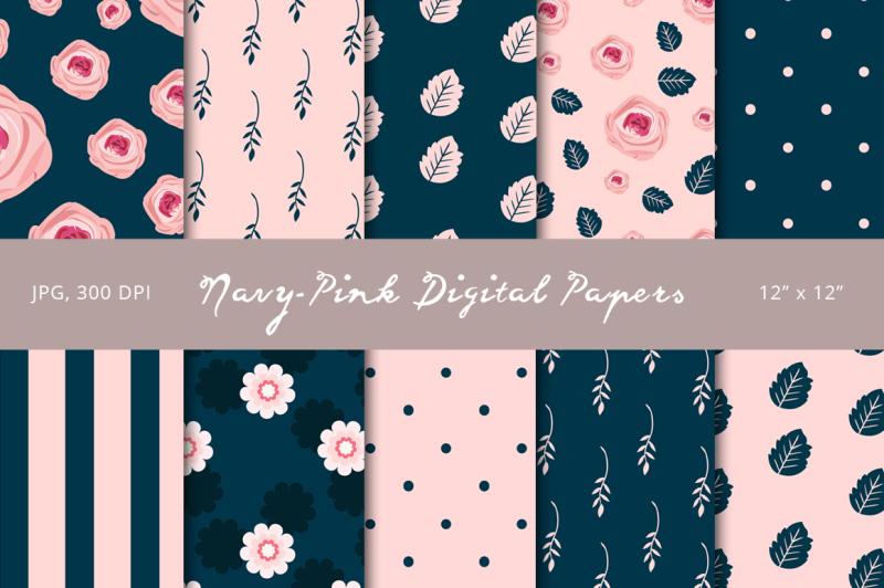 navy-pink-digital-papers