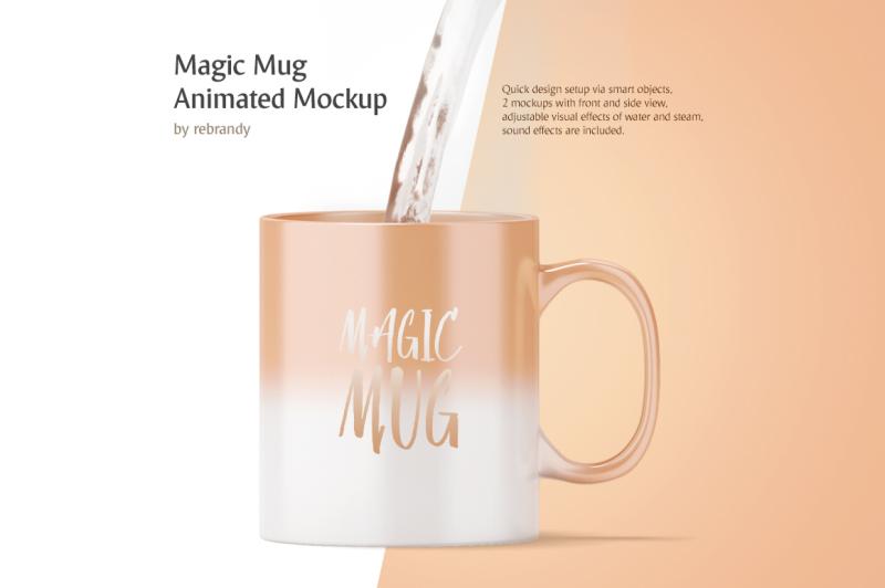 Free Magic Mug Animated Mockup (PSD Mockups)