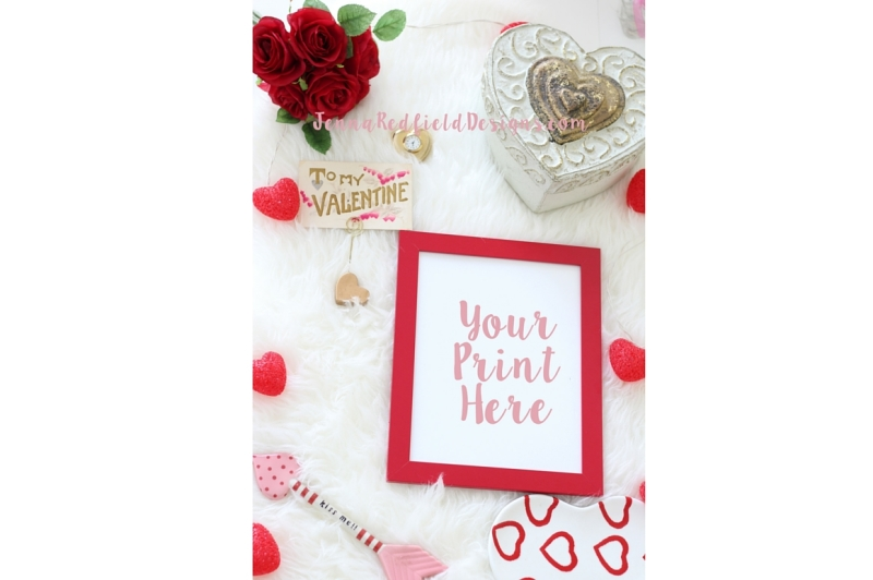 Free Pinterest Vertical Dimensions Valentine's Day Styled Stock Photo Mockup Print (PSD Mockups)