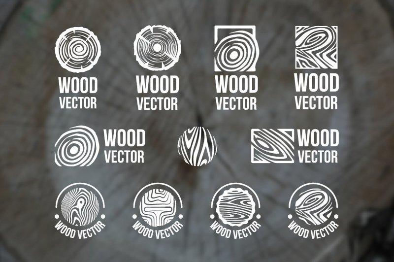 set-of-wood-rings-texture-logo