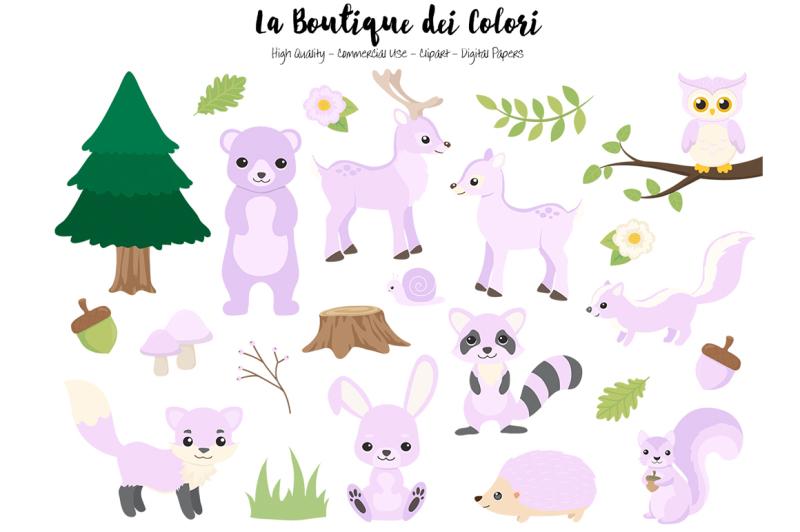 purple-woodland-animals-clipart