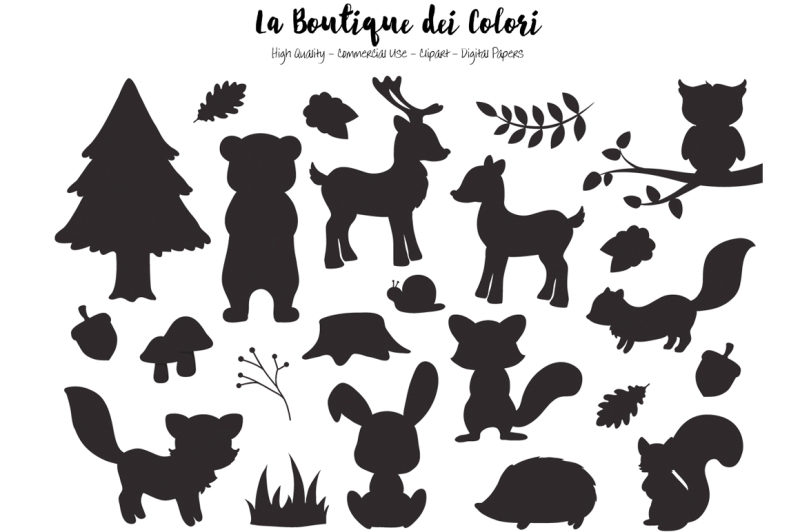 woodland-animal-silhouette-clipart
