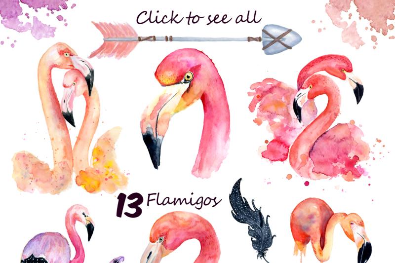 boho-flamingo-watercolor-set