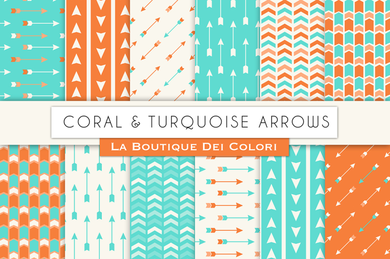 coral-and-turquoise-arrow-digital-papers