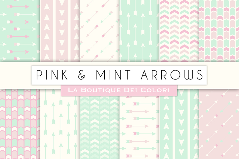 pink-and-mint-arrow-arrow-digital-papers