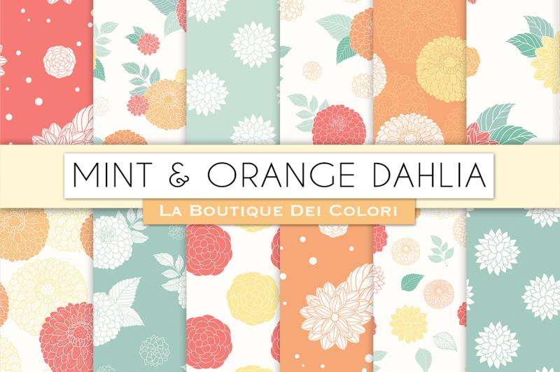 mint-and-orange-dahlia-flower-digital-papers