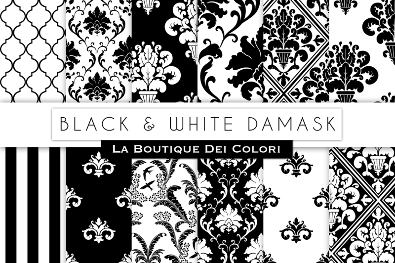 black-and-white-damask-digital-papers