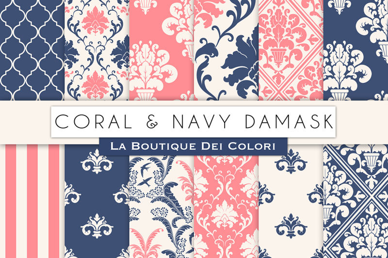 coral-and-navy-damask-digital-papers