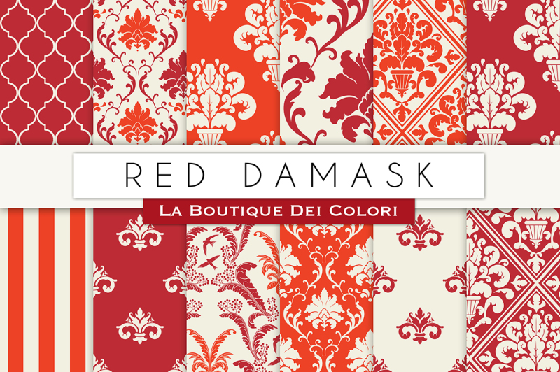 red-damask-digital-papers