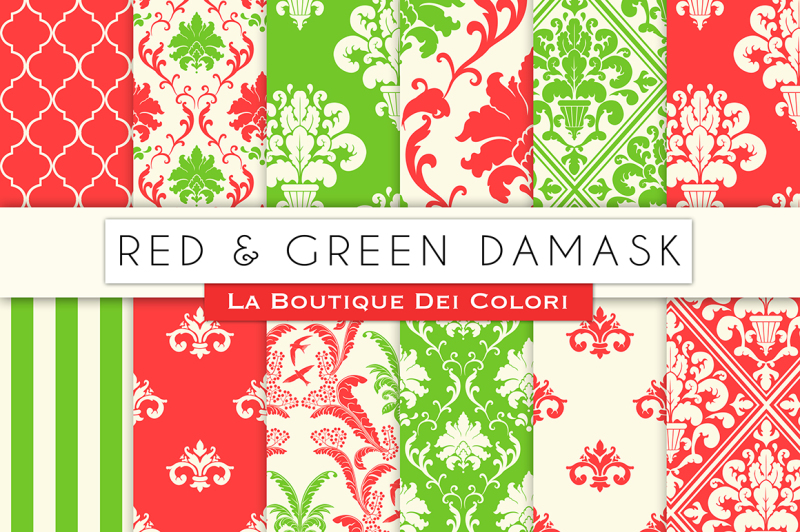 red-and-green-damask-digital-papers