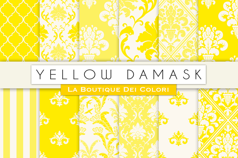 yellow-damask-digital-papers