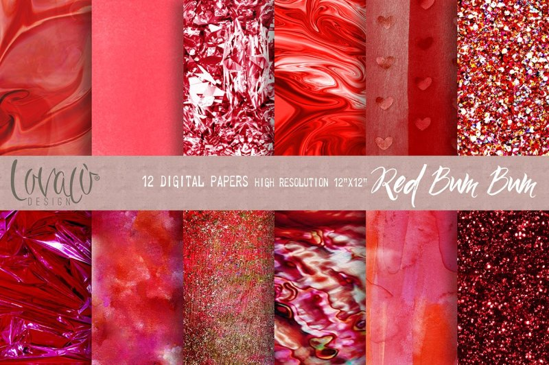 red-bum-bum-digital-papers-texture