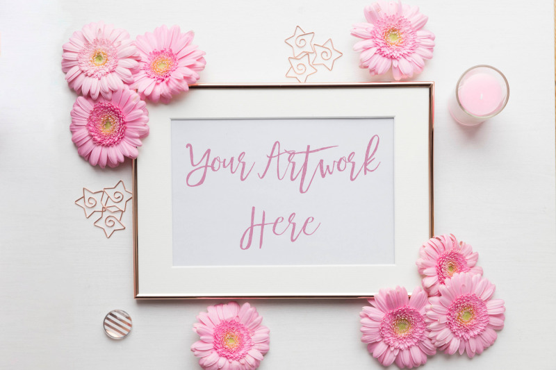 Free Pink Gerberas Rose Gold Frame Mockup (PSD Mockups)