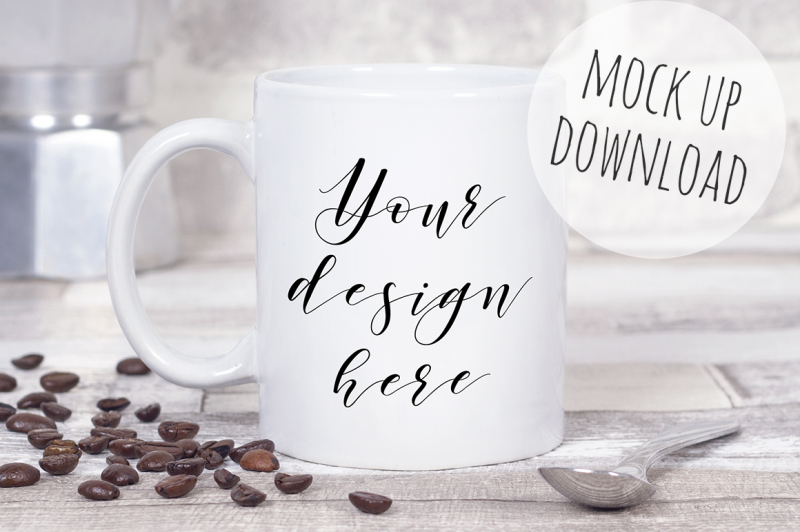 Free Coffee Mug Mockup Styled Photo (PSD Mockups)