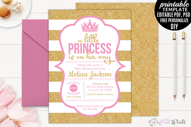 gold-and-pink-little-princess-baby-shower-invitation-template