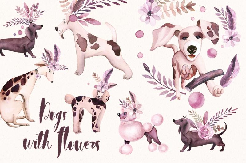 watercolor-funny-doggies