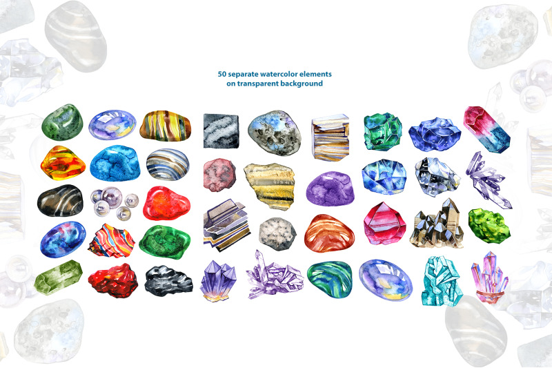 watercolor-minerals-and-gems