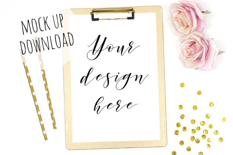 Free Gold Clipboard Styled Mock Up (PSD Mockups)