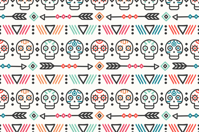 day-of-the-dead-print-tribal-mexican-ethnic-seamless-pattern