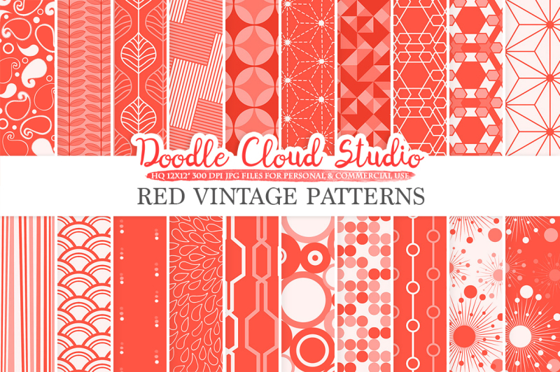 red-retro-digital-paper-geometric-vintage-patterns-scarlet-vermilion-digital-backgrounds-instant-download-for-personal-and-commercial-use
