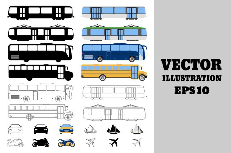 set-of-flat-urban-transport-icon