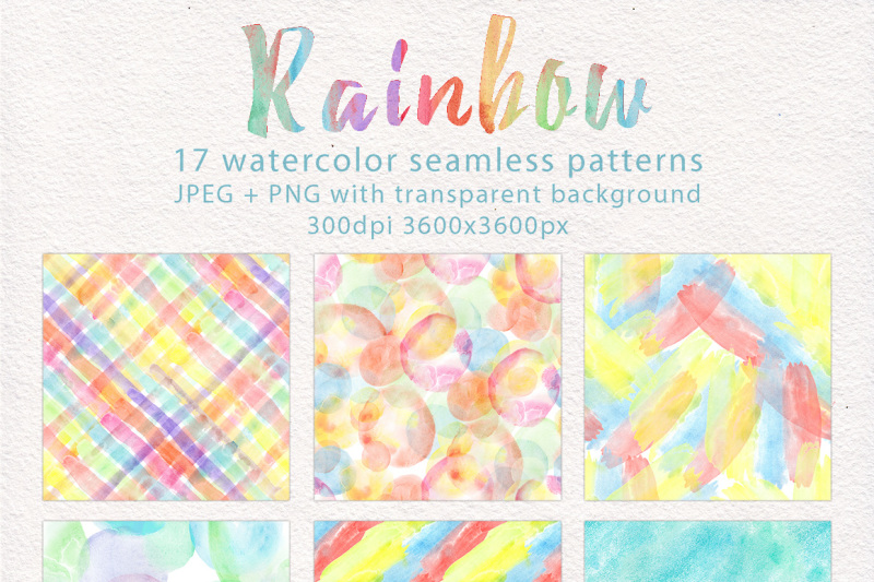 Rainbow Watercolor Seamless Pattern By Antuanetto Thehungryjpeg Com