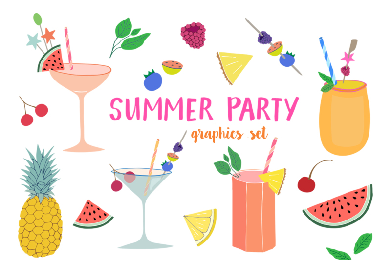 summer-party-clipart-set