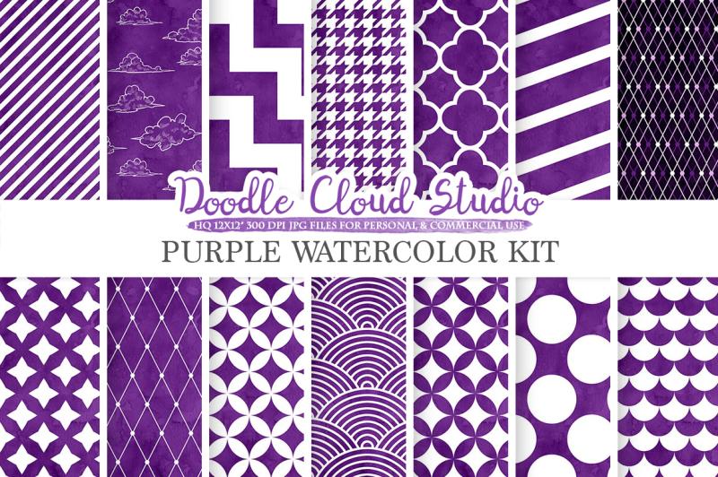 purple-watercolor-digital-paper-geometric-diamond-chevron-stripes-scallops-houndstooth-quatrefoil-patterns-instant-download-commercial-use